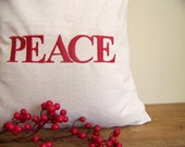 PEACE embroidered Christmas pillow cover / red / christmas home decor / custom / christmas pillow /  decoration /