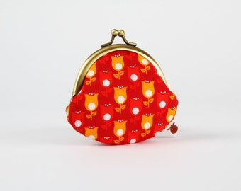 Metal frame coin purse - Tender tulips in red - Mummy rounded purse / Little flowers / orange sunny yellow ruby red / white dots / summer