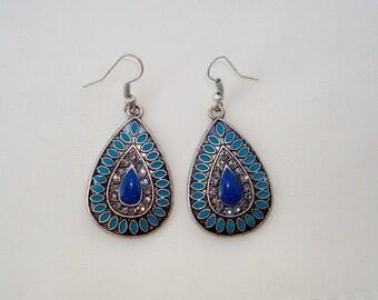 Antique Silver Blue Enamel & Clear Crystals Tear Drop Earrings