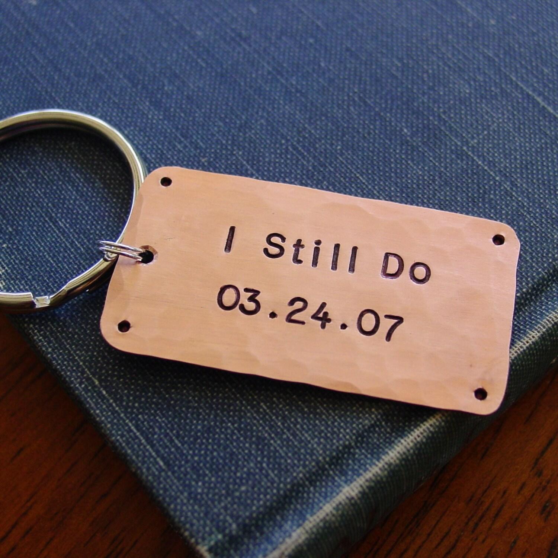 Anniversary Keychain I Still Do Wedding Date Copper By