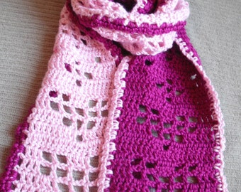 Scarf of Hearts, Hearts of Filet Scarf, Red Heart, Filet Hearts Scarf, Fuschia & Baby Pink, Shimmery Hearts, Valentine's Scarf