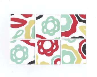 SALE / Bold Floral Mini Note Cards / Set of 15 / 2x2 Inches / MN80 / Ready To Ship