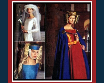 MEDIEVAL COLLECTION HEADPIECES- Mantal Cape- Designer Costume Sewing Pattern -Templer Crown -Toque-  Dramatic Veils -Uncut -One Size- Rare