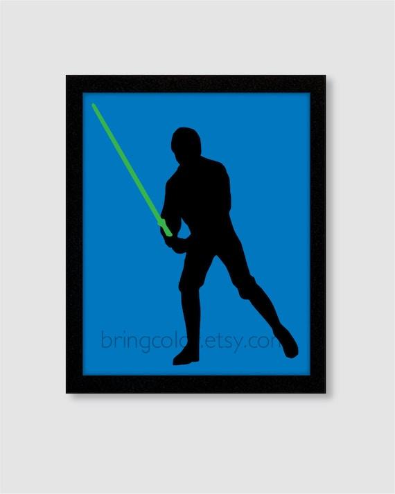 Items similar to Star Wars Luke Skywalker Silhouette Wall ...