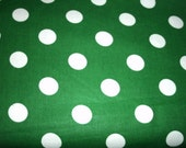 2 full yards Green and White Dots Green quilting cotton pillow case dresses ruffles fabric By the yard