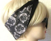 Pug Hair Tie Sugar Skull Style & Star Print Rockabilly by Dolly Cool. Rare and exclusive self designed fabric