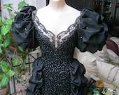 Vintage Noire Medieval Fair black gown, Moulin Rouge Haute black corset style cocktail dress or gown, Renaissance black gown, size Small