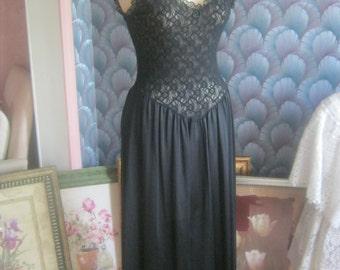 Vintage Black nylon nightgown, mid calf black lace lace stretch nightgown, ruffled edge black lace lingerie,  size Small Cinema Etoile