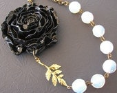 Statement Necklace Flower Necklace Black Bib Necklace Bridesmaid Jewelry Beaded Necklace Fall Jewelry