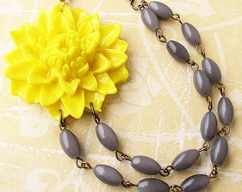 Statement Necklace Flower Necklace Bridesmaid Jewelry Yellow Necklace Grey Jewelry Beaded Necklace Gift For Her