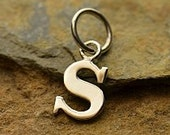 """Silver Letter """"s"""" Charm, Typewriter Lowercase Alphabet Charm, 925 Sterling Silver, 1 PC, 16x8x1mm"""
