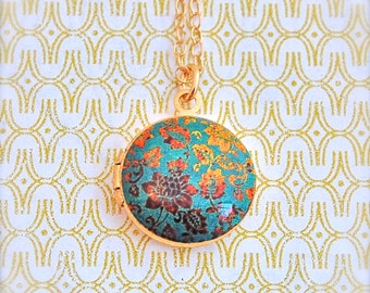 Small Locket Necklace Vintage Inspired Turquoise Teal Gold Floral Flowers Wallpaper Print Weddings Bridesmaids Gifts Custom Jewelry
