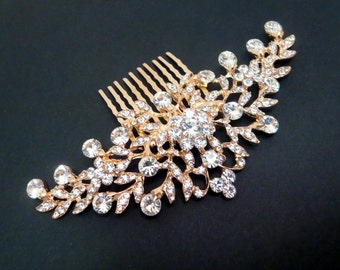 Rose gold Bridal hair comb, Bridal headpiece, Rose gold Rhinestone headpiece, Bridal hair accessory