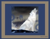 White Wolf Howling At Moon Save The Wolves Southwestern Totem Animal Wildlife Giclee Print 8 x 10