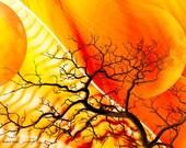 Yellow Tree Art, Orange Moon, Black Silhouette, Digital Print, Woodland Landscape, Fantasy Surreal, Home Decor, Wall Decor, Giclee Print