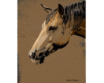 Texas Horse Head Profile Art, Abstract Realism, Southwestern Brown Black, Western Equine, Ranch Farm, Totem Animal, Giclee Print, 8 x 10
