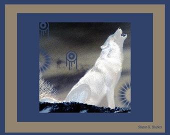 White Wolf, Howling Wolves, Southwestern Art, Native American Totem Animal, Wildlife Decor, Blue Gray Home Decor, Giclee Print, 8 x 10