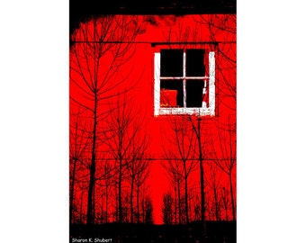 Conceptual Art, Red Photomontage, Leaving Home, Trees Woodland Landscape, Wall Hanging, Home Decor, Digital Print, 8 x 10, Giclee Print