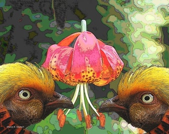 Golden Pheasant, Twin Birds Art, Wall Hanging, Green Pink Yellow, Lily Floral Flower, Woodland Animal, Home Decor, Giclee Print, 8 x 10