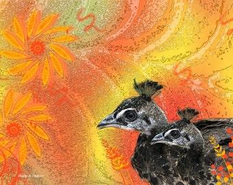 Black Pheasants Art, Mother & Baby Birds, Woodland Animal, Orange Yellow Flower, Floral Wall Hanging, Home Decor, Giclee Print, 8 x 10