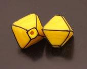 SRA Lampwork Beads Handmade Glass Bright Yellow Crystals Black Pair Heather Behrendt BHV SRA LETeam