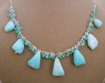 NEW MARKDOWN: South Pacific -- Amazonite Nugget and Apatite Gemstone Necklace