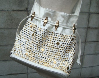 Studded Leather Purse Vintage 1980s White Studs Gems Jeweled