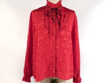 Vintage 1980s High Collar Blouse top Button Up Shirt Red