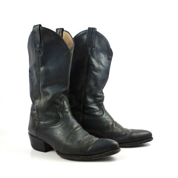 cowboy boots vintage 1980s navy blue by