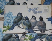 Hydrangea Blue Flower and Blue Birds On A Branch Vintage Post Card Gift Tags