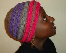 Hot Violet Browns, Crochet African Headwrap