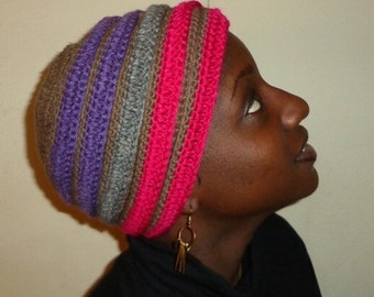 Hot Violet Browns, Crochet African Headwrap