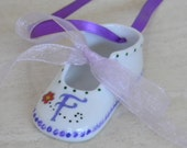 Hand painted porcelain custom personalized monogrammed baby shoe ornament