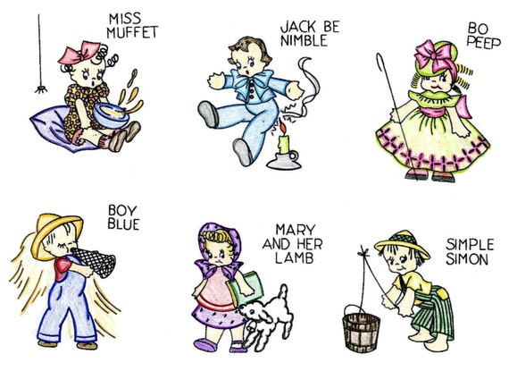 S hand embroidery pattern h nursery rhymes little