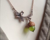 Mini Glass Acorn in Matte Olivine with Copper Squirrel Necklace by Bullseyebeads