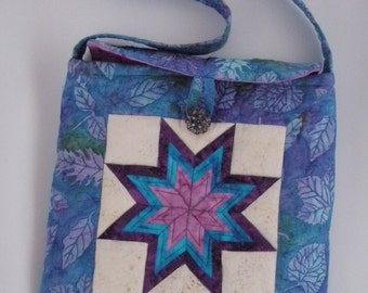 Quilted Purse Patchwork Handmade Star Batik in Teal Purple Quiltsy