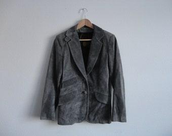 VINTAGE gray suede BLAZER jacket - xs / sm