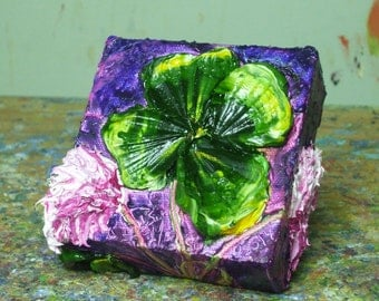 Shamrock 4x4 Inches Original Impasto Oil Painting by Paris Wyatt Llanso