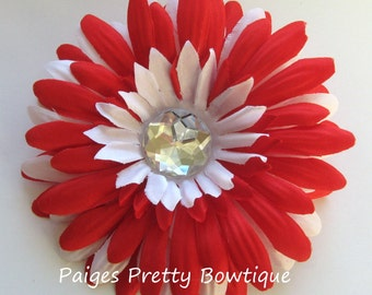 "CLOSEOUT-4"" Red & White Gerbera Daisy Clip-Flower Hair Clip-Valentine Flower"