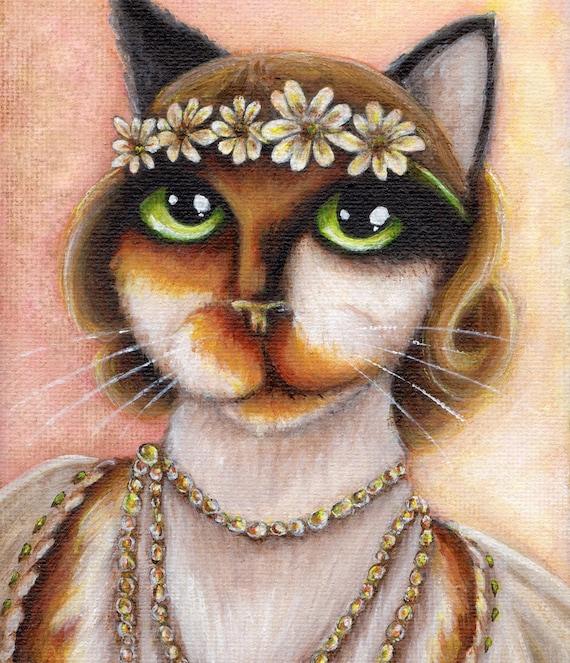 Daisy Cat, Great Gatsby Cat Art, Portrait of a Calico Cat, 8x10 Fine Art Print