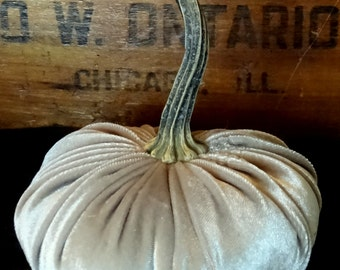 Scented Velvet Pumpkin, Taupe Light Brown