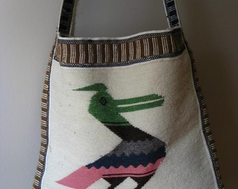 Bird shouler bag -  hippie hipster cross body bag -large grocery bag - shopping bag-  beach bag tote-vintage boho bag- eco accessories
