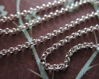 Sterling Silver Chain, Rolo Chain by the foot, 1.5 mm, 15-40% Off, wholesale unfinished  strong medium weight s22 ss hp solo
