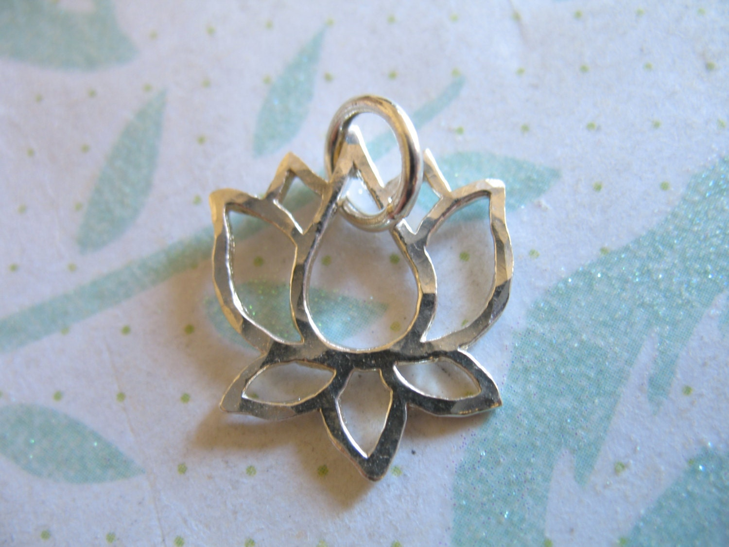 lotus blossom charms pendants sterling silver lotus outline
