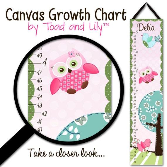 Canvas GROWTH CHART Sweet Little Owl Girls Pink Kids Bedroom