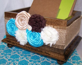 Wedding Card BOX, Turquoise and Brown, Rustic Card Box, Wooden Card Box, Burlap, Turquoise Wedding, Malibu, Ivory, Brown, Champagne, Custom