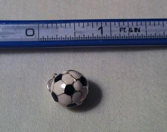 Soccer Ball Charrm Sterling Silver enameled