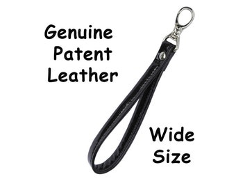Leather 'Wide' Wristlet Strap - Genuine Patent Leather - Your Choice of BLACK or RED and Hardware  -  Made to Order