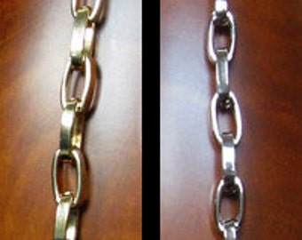 "SALE! Stylish Elongated Box Chain - GOLD or NICKEL Chain Strap - 5/16"" Wide - Your Choice of Length & Clips"