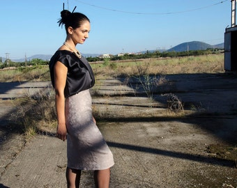 50% Off Sample Sale Jacquard Pencil Skirt High Waist Beige Evening Skirt with Removable Peplum